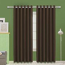 MOOORE Dark Mocha Bedroom Blackout Curtains,