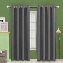 MOOORE Grey Bedroom Blackout Curtains, Eyelet Ring