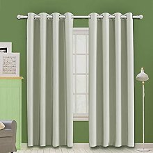 MOOORE Greyish White Bedroom Blackout Curtains,