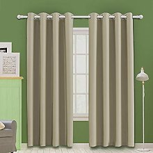 MOOORE Khaki Bedroom Blackout Curtains, Thermal