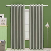 MOOORE Light Grey Bedroom Blackout Curtains,