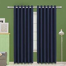 MOOORE Navy Blue Bedroom Blackout Curtains, Eyelet