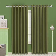 MOOORE Olive Green Bedroom Blackout Curtains,