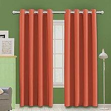 MOOORE Orange Bedroom Blackout Curtains, Eyelet