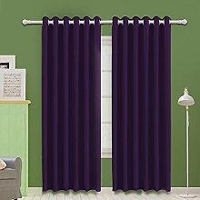 MOOORE Purple Bedroom Blackout Curtains, Eyelet
