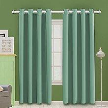 MOOORE Teal Bedroom Blackout Curtains, Eyelet Ring