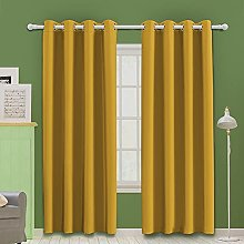 MOOORE Yellow Bedroom Blackout Curtains, Eyelet