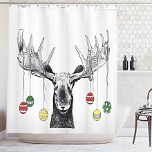 Moose Shower Curtain, Christmas Moose with