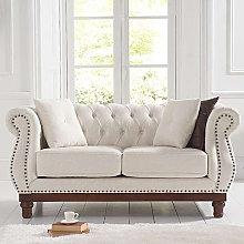 Morava Linen 2 Seater Sofa In Ivory