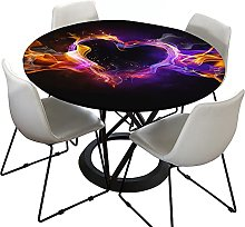 Morbuy Fitted Round Tablecloth for Circular Table,