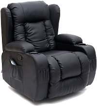 More4homes - CAESAR BLACK LEATHER RECLINER CHAIR