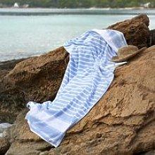 Morella Beach Towel, White Blue, Bath Towel