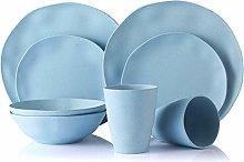 MORGIANA Reusable Bamboo Plates Set 8 Pieces, Eco Friendly & Biodegradable Dinnerware Set, Camping Plates Set, Picnicware Set, Service for 2 (Baby Blue)