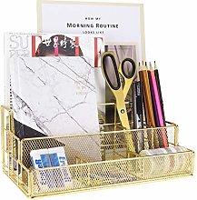 MORIGEM Gold Desk Accessories Organizer, Durable