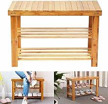 MorNon Bamboo Shoe Rack Bench 2 Tier Shoe Storage