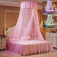 MorNon Lace Bed Tent LED Light Princess Dome