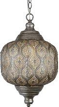 Moroccan 1 Light Pendant In Antique Silver