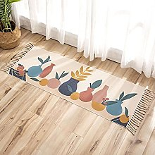 Moroccan Woven Area Rug With Tassels, Hand