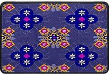 Morocco Floral Doormat Rug Easy to Clean Non Slip