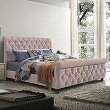 Morvey Velvet Fabric King Size Bed In Blush Pink