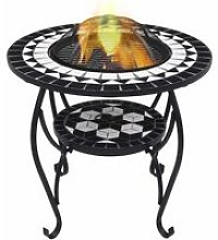 Mosaic Fire Pit Table Black and White 68 cm