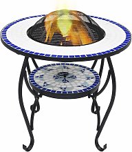 Mosaic Fire Pit Table Blue and White 68 cm Ceramic