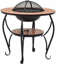 Mosaic Fire Pit Table Terracotta 68 cm Ceramic -