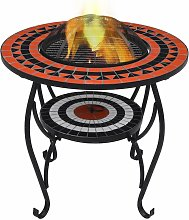 Mosaic Fire Pit Table Terracotta and White 68 cm