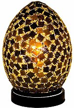 Mosaic Tile With Gold Lamp, Glass, Black, Small
