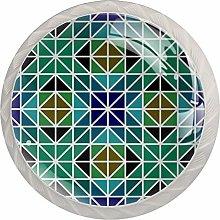 Mosaic Triangle Symmetry Green Blue Drawer Pulls