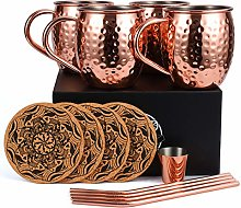 Moscow Mule Copper Mugs Set of 4, Handcrafted Food