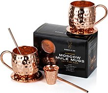 Moscow Mule Copper Mugs: Set of Two - Includes 2 x
