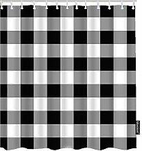 Moslion Plaid Shower Curtain Set Classic White