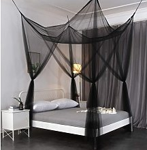 Mosquito Net, King Size Four Corner Post Curtains Bed Canopy for Single to Fits All Cribs and Beds for Adult Bedroom, Kids Rooms, Baby Bassinet, Garden, Camping(black)