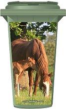 Mother And Baby Horse Wheelie Bin Sticker Panel