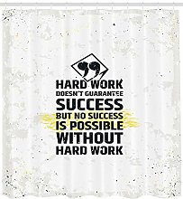Motivational Shower Curtain Hard Work Quote Print