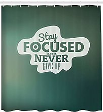 Motivational Shower Curtain Stay Focused Words