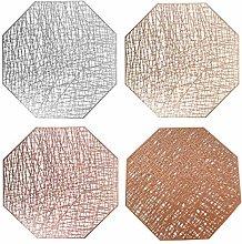 MOTZU 4 Colors Hollow Placemats, Octagonal PVC