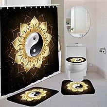 MOUMOUHOME Black Bathroom 4 Pieces Golden Lotus