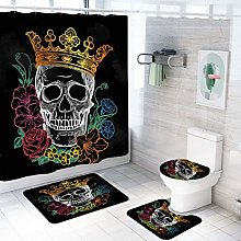MOUMOUHOME Skull Theme Black 3D White Skull with a
