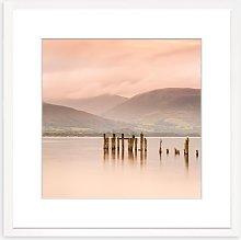 Mountain Lake Framed Print & Mount, 73 x 73cm, Pink