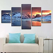 Mountain Landscape5 Panel Wall Art Paintings On