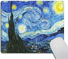 Mouse pad,Comic Starry Night Pattern Waterproof