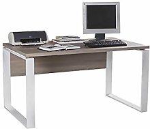 Movian Desk with Metal Legs, Wood, Dark Brown,