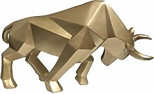 MOVKZACV Resin Geometric Ox Statue Ornament Cafe