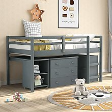 MOWIN Low Sleeper Bunk Bed With Ladder, 3ft Single