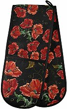 Moyyo Oven Glove Beautiful Red Poppies Flowers