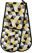 Moyyo Oven Glove Black Yellow Geometric Double