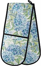 Moyyo Oven Glove Blue Hydrangea Flower Double Oven
