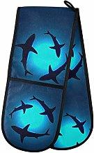 Moyyo Oven Glove Blue Sea Floating Shark Double